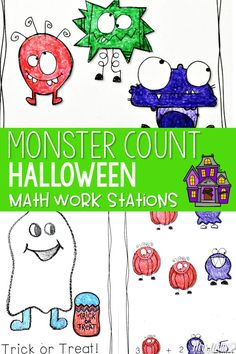 Math Work Stations with a Halloween theme! These stations are about Beginning Number Concepts numbers 1-20 Activity cards can be used 4 different ways: sort, compare more and less, memory, and play Go Fish.