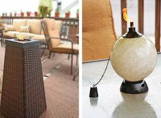 New tiki torches add a classy touch to your backyard decor.