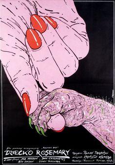 Rosemary's Baby - Dziecko Rosemary.   Original Polish movie poster, USA. Director: Roman Polanski, Actors: Mia Farrow, John Cassavetes, Designer: Andrzej Pagowski, Year: 1984.