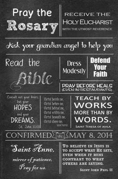 I made this poster as a Confirmation gift for a niece. (Thanks Michelle Rohr and catholicapolos.blogspot.com!) Confirmation Sponsor Gifts, Confirmation Quotes, Diy Religious Gifts, Catholic Gifts, Catholic Religion, Catholic Quotes, First Communion, Spiritual, Baptisms