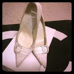 DIOR logo White Pumps CD 36.5 RARE! All white DIOR logo fabric sewn heels with C and D on each shoe. Beautiful boss lady shoes! Sadly they are too big for me. They always fall off when walking making me trip. Heels approx 3 in. Size 6.5 may fit a size 7. Box included! They feel huge on me. I'm a true 6. All items ship next day! Please accept your item through Posh within 24hrs of delivery as a courtesy. Thank you. Offers welcome! Dior Shoes Heels