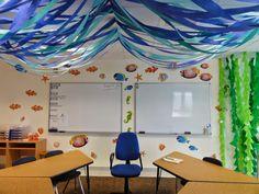 The Charming Classroom: Ocean Classroom Theme Classroom Ceiling Decorations, Classroom Decor Themes, Classroom Design, Room Decorations, Classroom Organization, Classroom Ideas, Christmas Decorations, Toddler Classroom, New Classroom