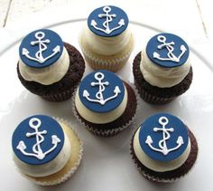 Simple yet cute anchor cupcakes. It is an idea to use for my sons Graduation / US Navy Going Away party. Would also work for anchor or nautical themed parties (wedding, birthday, baby shower)