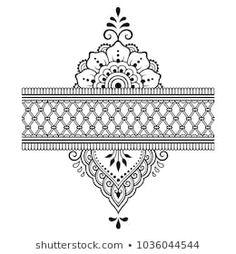 Set Mehndi Flower Pattern Bracelet Seamless Stock Vector (Royalty Free) 512208937 - Henna tattoo flower template and border. Set of ornamental patterns in the oriental s - Estilo Mehndi, Mandala Drawing, Mandala Art, Mehndi Flower, Henna Drawings, Mehndi Designs Book, Mehndi Style, Muster Tattoos, Henna Patterns