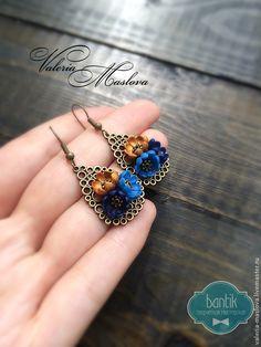 Купить Серьги-капельки с цветами из полимерной глины синий - тёмно-синий, серьги, сережки