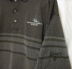 Ashworth Jack Nicklaus North Whistler Canada Mens Golf Shirt Large Black Brown  #Ashworth #GolfShirt