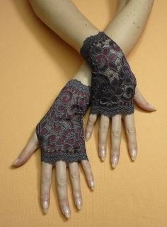 Short Gothic Fingerless Gloves in Dark Grey and Bordeaux, Steampunk Mittens, Baroque, Victorian Lace Armwarmers in Gypsy and Boho Style. $19.00, via Etsy.