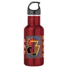 Art Deco Red Water Bottle by Janz 18oz Water Bottle