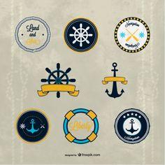 Vector nautical badges Free Vector
