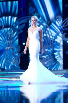 A gorgeous flowing gown, Miss Maryland Christina Denny stunned on stage at the Miss America 2014 evening gown preliminary.