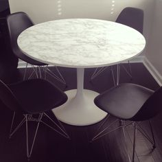 """ONE ROOM CHALLENGE ~The City Condo ~ Week 5 - """"gave the old docksta table a little makeover with marble contact paper"""""""