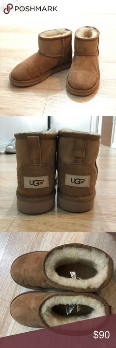 UGG classic mini boots This boots are KIDS boots.  However I am size 5 Women's sandals and 5.5 sneakers and these fit so perfectly.  Condition: 9.7/10 Only worn once. But it's not cold anymore and I don't feel the need of these anymore! Couldn't even properly wear them. Includes original Box. UGG Shoes Boots