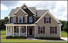 Front Porch On Ranch House | This Raleigh new home wrap-around porch uses a unique railing style ...