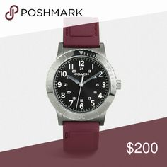 COACH MEN WATCH W/burgundy Silicone Strap COACH  RIVINGTON IONIZED PLATED RUBBER STRAP WATCH   WAS $250.00  ?Ionized plated case and rubber strap Approx. case diameter: 42mm Quartz movement Mineral crystal Buckle closure Water-resistant to 99 feet COLOR: BURGUNDY  Thank You!!! Coach Accessories Watches