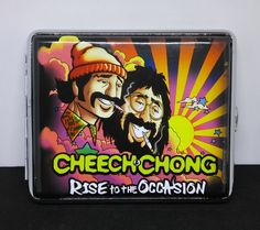 "Cheech & Chong ""Rise"" Silver Framed PU Leather 100s Size Cigarette Case"