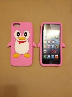 Hot 3D LT Pink Anime Penguin Soft Silicon Case Cover For Apple iPhone 5 5S 5C $4.69 via @Shopseen