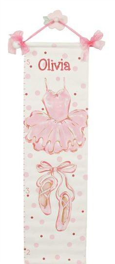 Ballet Hand Painted Canvas Growth Chart  #ballerinanursery #dancenursery #balletnursery