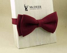 MD92 - Claret Bordeaux Bow Tie - Ready Tied, Adult, Mens, Grooms, Groomsman, Rustic, Bohoo, Wedding Bow Tie, Gift, Present for Him, Mr.DEER