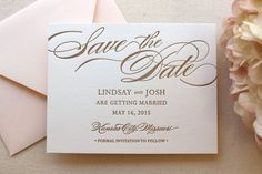 The Begonia Suite Letterpress Save the Date by DinglewoodDesign