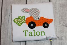 Easter shirt for little boy. Bunny in Carrot Car with personalized name. Easter clothes for baby boy, toddler, child. Infant bodysuit. on Etsy, $23.00