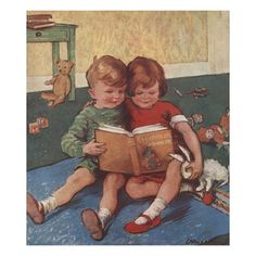 Brother and Sister Reading, this could be my great-grandchildren, Trinity & Maksim