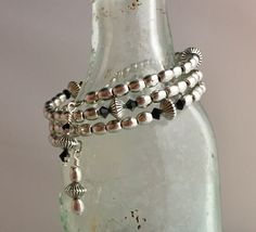 Wrap style, pewter with SS overlay, Swarovski black/silver crystals.