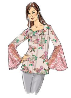 Butterick B6518 Misses' Square-Neck Top with Yoke and sleeve variations. #sewingpattern #butterick