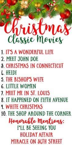 My Top 10 Favortie Classic Christmas Movies. The Best Holiday Films Pictures TCM From Old Hollywood Golden Age Era. By Angela Lanter - Hello Gorgeous.