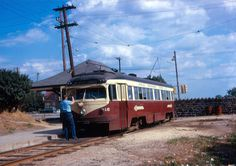 Red Arrow Changing poles at Sharon Hill Terminus 1965
