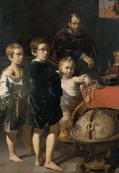 Thomas de Keyser | Portrait of three Children and a Man, Thomas de Keyser, 1622 | Portret van drie kinderen en een man. De kinderen staan op de voorgrond bij een globe bij een tafel waarop sieraden liggen. Op de achtergrond staat een man achter en balustrade.