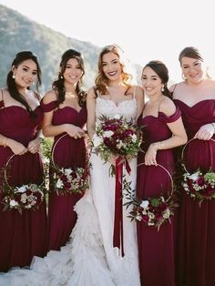 Charming Burgundy Off the Shoulder Spaghetti Strap Sweet Heart Long Bridesmaid Dresses , is part of Wedding photography bridal party inch (end of arm) Delivery time Rush order within 20 da - Burgundy Bridesmaid Dresses Long, Wedding Bridesmaid Dresses, Bridesmaid Bouquet, Flowers For Bridesmaids, Flower Girl Dresses Burgundy, Prom Dresses, Winter Wedding Bridesmaids, Bridesmaid Duties, Bridesmaid Outfit
