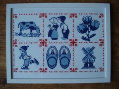 Hollandse merklap Counted Cross Stitch Patterns, Cross Stitch Embroidery, Embroidery Patterns, Hand Embroidery, Baby Blanket Crochet, Cross Stitching, Delft, Needlepoint, Needlework