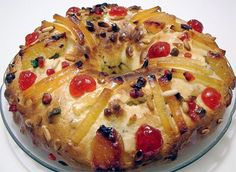 King Cake: Classic European recipe for a yeasted fruit cake topped with galcé fruit that is traditionally baked for Epiphany (Twelfth Night)