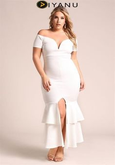 Plus Size Off Shoulder Ruffle Tiered Maxi Gown at Diyanu Source by acelinehuff Plus Size Wedding Gowns, Plus Size Gowns, Plus Size Summer Outfit, Plus Size Outfits, Plus Size Fashion For Women, Plus Size Women, Plus Size Intimates, Curvy Girl Fashion, Ladies Fashion