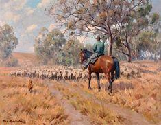 Max Middleton - Drover Taking Sheep Through Bush Near Tumut on a Grey Day 1972 Landscape Art, Landscape Paintings, Landscapes, Australian Bush, Beautiful Paintings, Pastel Paintings, Country Scenes, Australian Artists, Acrylic Art