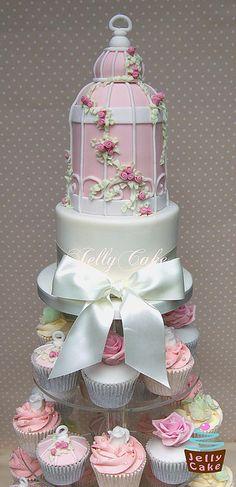 Birdcage Wedding Cupcake Tower by www.jellycake.co.uk, via Flickr