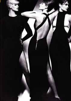 Versace 1991. Top super-models (of the 90's) Linda Evangelista, Christy Turlington & Helena Christensen. Photo by Herb Ritts.
