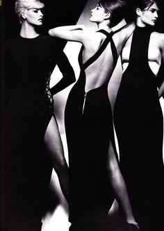 Versace 1991. Top super-models (of the 90's) Linda Evangelista, Christy Turlington & Helena Christensen. Photo by Herb Ritts.