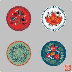 Badge designs by Dinara Mirtalipova Pottery Painting, Ceramic Painting, Ceramic Art, Painting On Wood, Painting Tips, Felt Christmas Decorations, Christmas Art, Polish Folk Art, Scandinavian Folk Art