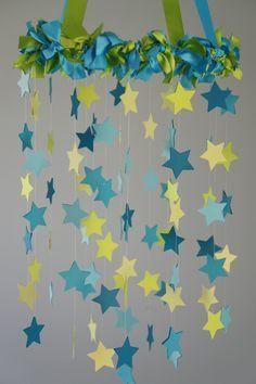 star chandelier cut paper stars hula hoop - Google Search