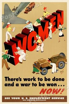 "1940s ""Women - There's Work to be Done"" WWII Propaganda War Poster - 24x36 #Vintage"