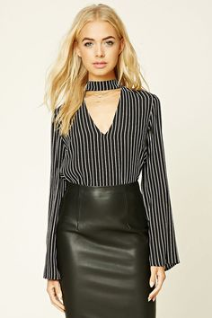 FOREVER 21 Striped High Neck Cutout Top | FOREVER 21 saved by #ShoppingIS