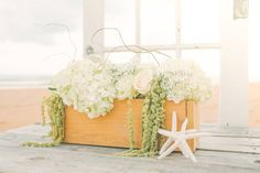 Beach wedding centerpiece with starfish - tropical, ocean centerpiece idea for wedding - Check out more beach centerpiece inspiration on WeddingWire! Table Decorations, Furniture, Home Decor, Decoration Home, Room Decor, Home Furnishings, Arredamento, Dinner Table Decorations, Interior Decorating