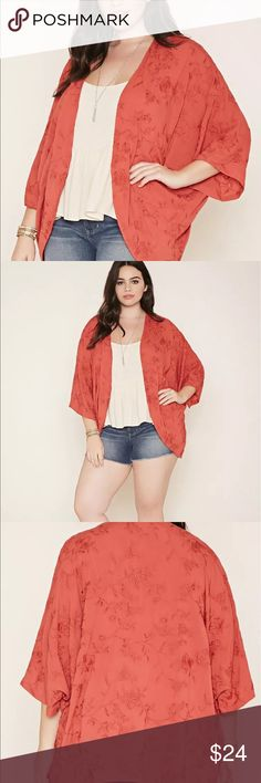 Forever21 kimono Rust color with red embroidered flowers. Just darling! Forever 21 Tops Blouses