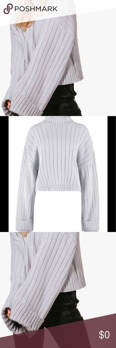 🆕 Light Grey Ribbed Wide Sleeve Sweater Nail new season in fashionable sweaters and cardigans.  This fun fashionable sweater is wide Sleeve. Great for wearing long, fold, or layered. Multiple use and great staple for cooler weather. 100% Acrylic 100720171440367 Sweaters Crew & Scoop Necks
