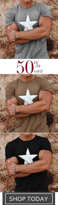 Plus Size Casual Loose Star Print T-shirt Fashion Fall, Mens Fashion, Plus Size Casual, Star Print, Christmas 2019, Handbags, T Shirts For Women, Rock, Stars