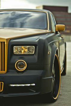 Black and gold Rolls Royce. #car #luxury