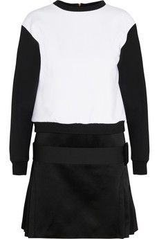 Victoria, Victoria Beckham Neoprene-effect jersey and satin mini dress | NET-A-PORTER