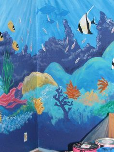 how is it possible that we did not take a picture of my under the sea bedroom walls!?!?!? I can't wait to do something like this for our kids, I'll never forget that room :)