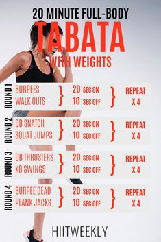 c416aa7d6ec 20 Minute Full Body Tabata Workout With Weights. This Tabata HIIT can be  completed in 10 or 20 minutes. Tabata Workout With Dumbbells and  kettlebells.